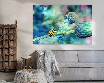 Lieveheersbeestje in blauw van Claudia Evans