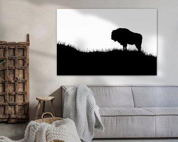 Europäische Bison Schwarz-Weiß-Silhouette von Marianne Jonkman