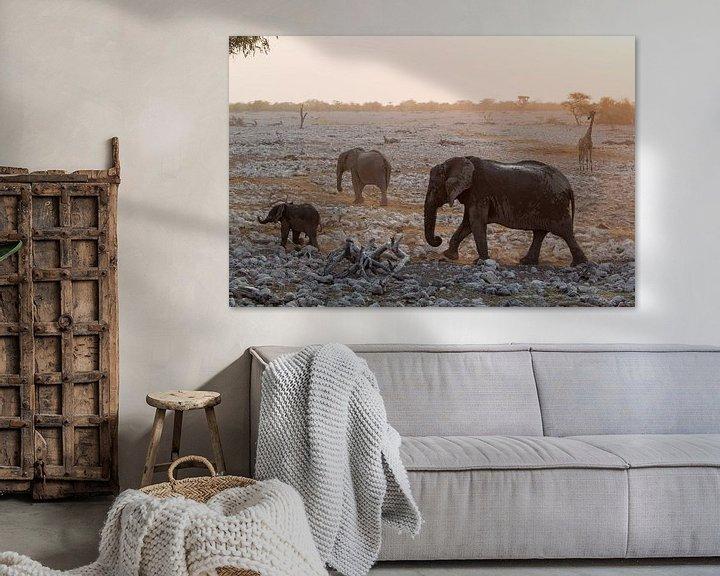 Beispiel: Elefanten und eine Giraffe in Etosha, Namibia von Menso van Westrhenen