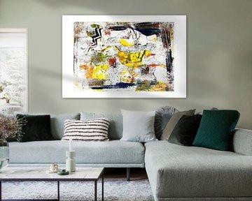 Monoprint kunst art in geel en blauw van Marianne van der Zee