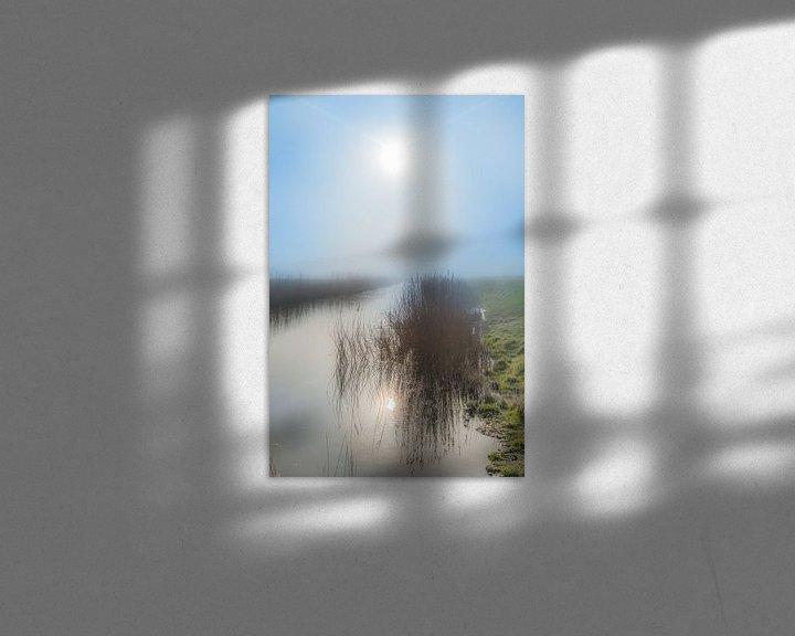 Sfeerimpressie: De zon gereflecteerd in een sloot vlak achter de Waddendijk nabij Koehool van Harrie Muis