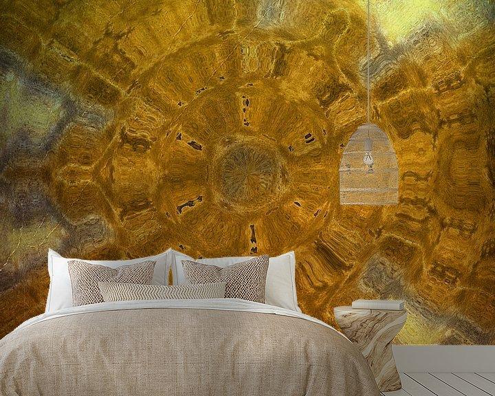 Sfeerimpressie behang: Bruin-Geel van Carla van Zomeren
