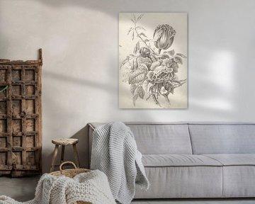 Bouquet de natures mortes en noir et blanc