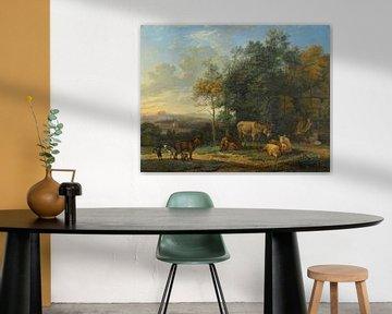 Landschaft mit zwei Eseln, Ziegen und Schweinen, Karel du Jardin