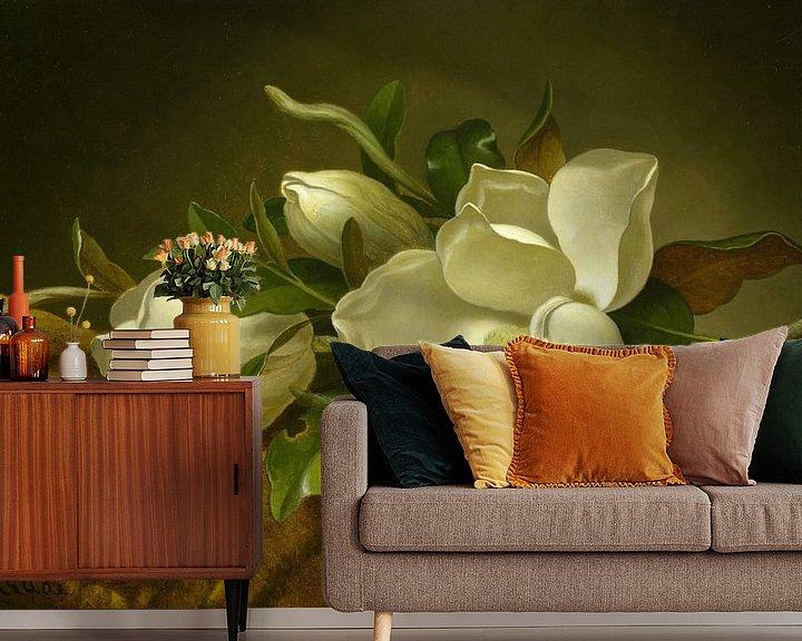 Beispiel fototapete: Magnolien auf goldenem Samttuch, Martin Johnson Heade