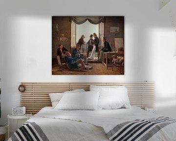 Eine Gruppe dänischer Künstler in Rom, Constantin Hansen.