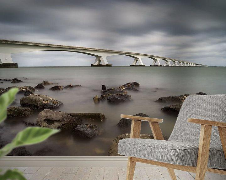 Sfeerimpressie behang: Zeelandbrug van Jan Jongejan