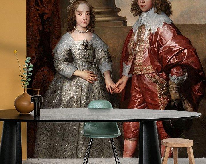 Sfeerimpressie behang: Willem II en zijn bruid Maria Stuart, Anthony van Dyck - 1641