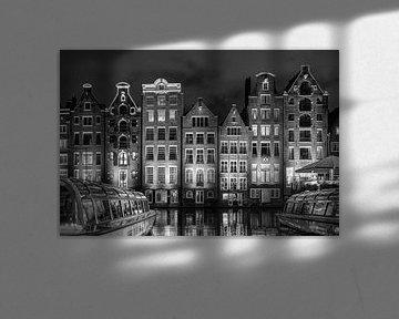 Damrak Amsterdam schwarz auf weiß von Michiel Buijse