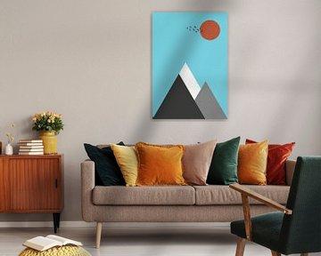 Abstract Berglandschap Poster - Scandinavische Wanddecoratie