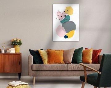 Tanzende Formen mit gepunktetem Herz - grafische Illustration von Kim Karol / Ohkimiko