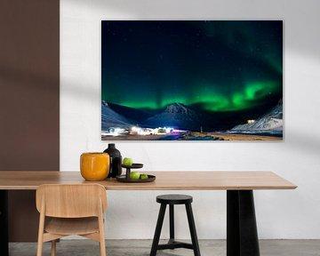 Aurora Borealis in Longyaerbyen Spitzbergen von Thijs van den Burg