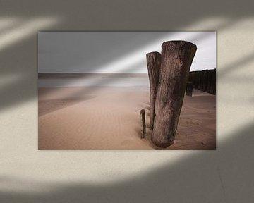 Paaltjes op het strand van Leo van Valkenburg