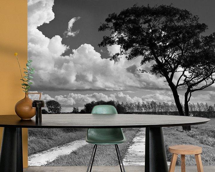 Sfeerimpressie behang: Wolken, boom en pad van robert wierenga