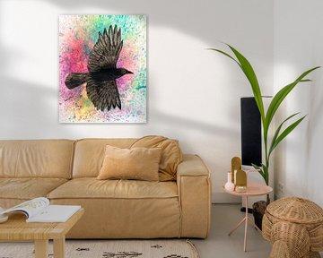 Fliegende Krähe von Bianca Wisseloo