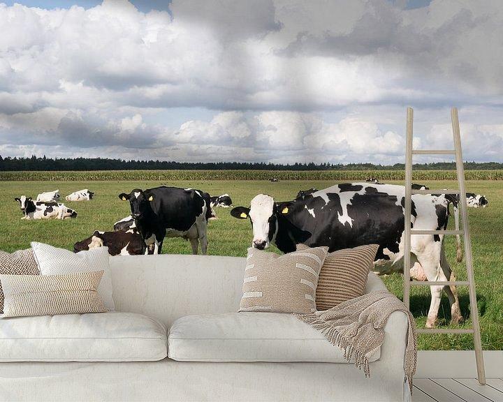Sfeerimpressie behang: Koeien en wolkenluchten van Carola van Rooy
