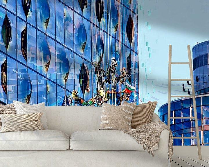 Beispiel fototapete: Fensterputzer an der Elbphilharmonie von Leopold Brix