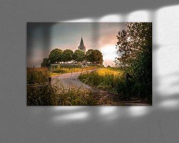 Kerktoren bij Avondlicht van Jaap Terpstra
