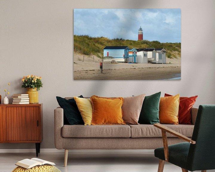 Beispiel: Strandkabinen vor dem Leuchtturm Eierland von Ad Jekel