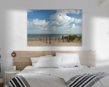 Touwafzetting bij strandpaviljoen Kaap Noord Texel van Ad Jekel