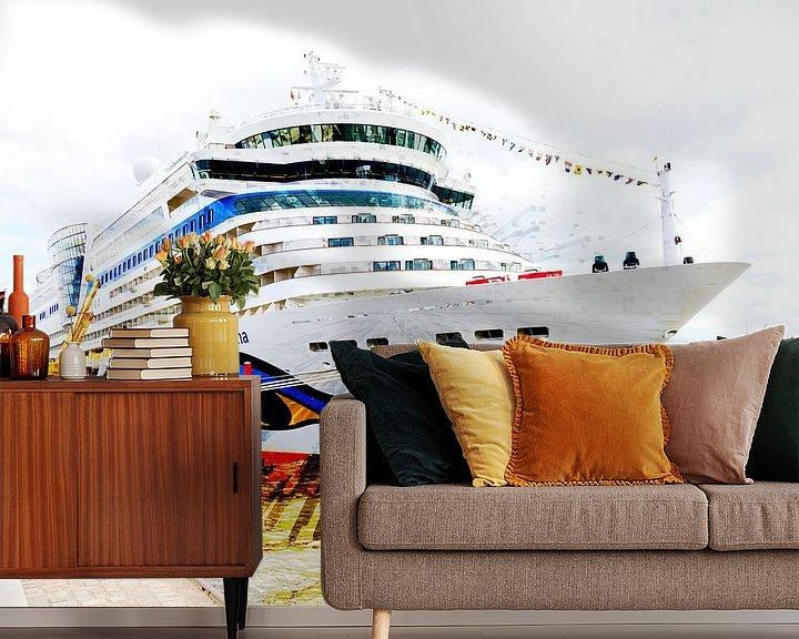 Beispiel fototapete: Kreuzfahrtschiff am Kai von Leopold Brix