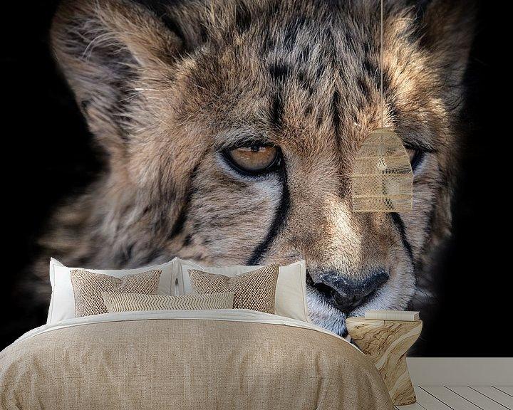 Sfeerimpressie behang: Portret van Cheetah welp in Namibië van Jille Zuidema