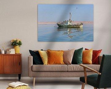 Oude drijvende boot  op meer bewoond door pelikanen
