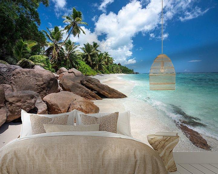 Beispiel fototapete: Tropischer Strand auf den Seychellen von Krijn van der Giessen