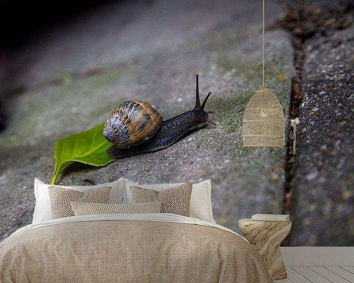 Impression: Escargot sur la terrasse sur Angela Kiemeneij