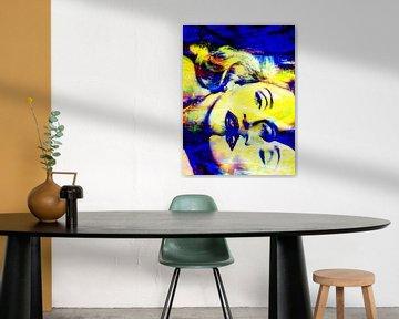 Madonna Truth or Dare Abstrakt Gelb / Blau von Art By Dominic