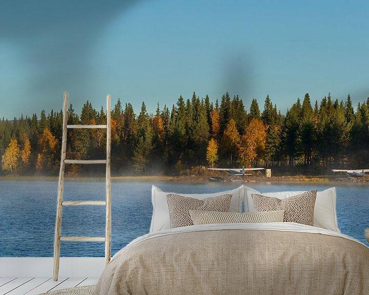 Sfeerimpressie behang: Watervliegtuigen bij Gällivare Zweden bij zonsopgang van Gilbert Schroevers