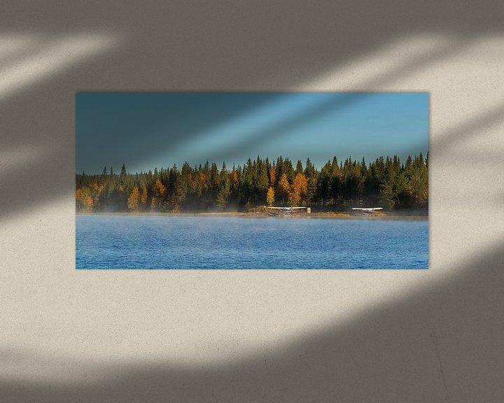 Sfeerimpressie: Watervliegtuigen bij Gällivare Zweden bij zonsopgang van Gilbert Schroevers