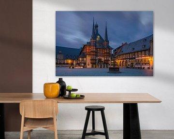 Het beroemde stadhuis in Wernigerode, Harz, Saksen-Anhalt, Duitsland van Henk Meijer Photography