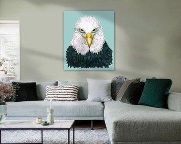 Ein Porträt eines amerikanischen Seeadlers mit weißem Schwanz. von Bianca Wisseloo