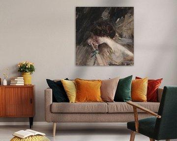Büste einer jungen Frau mit einer Blume (Carnation girl; Jeanne), Giovanni Boldini