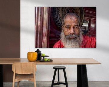 Porträt eines alten grauen Indianers mit Bart von Tjeerd Kruse