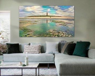 Stijlvol schilderij: wandeling op het strand van Texel - geschilderd met algoritme