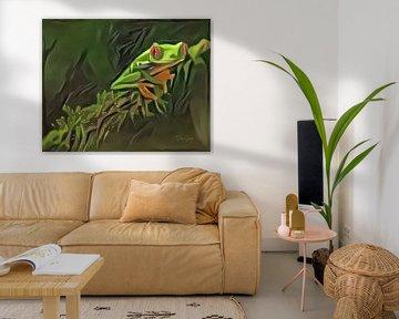 Schilderij van kikker: Roodoogkikker in oerwoud