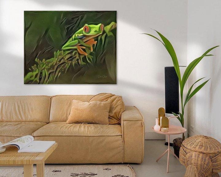 Sfeerimpressie: Schilderij van kikker: Roodoogkikker in oerwoud van Slimme Kunst.nl