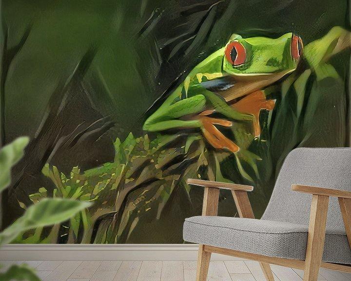 Sfeerimpressie behang: Schilderij van kikker: Roodoogkikker in oerwoud van Slimme Kunst.nl