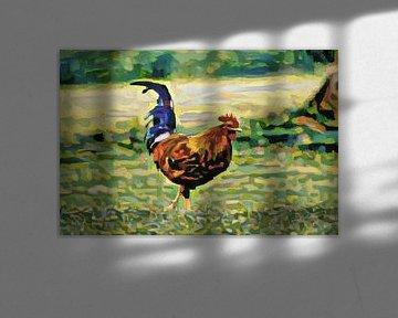 Landelijk schilderij van kip gemaakt met kunstmatige intelligentie: El Pollo Loco