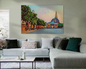 Kleurrijk schilderij van Groningen: Vismarkt en Aa-kerk op Zomeravond