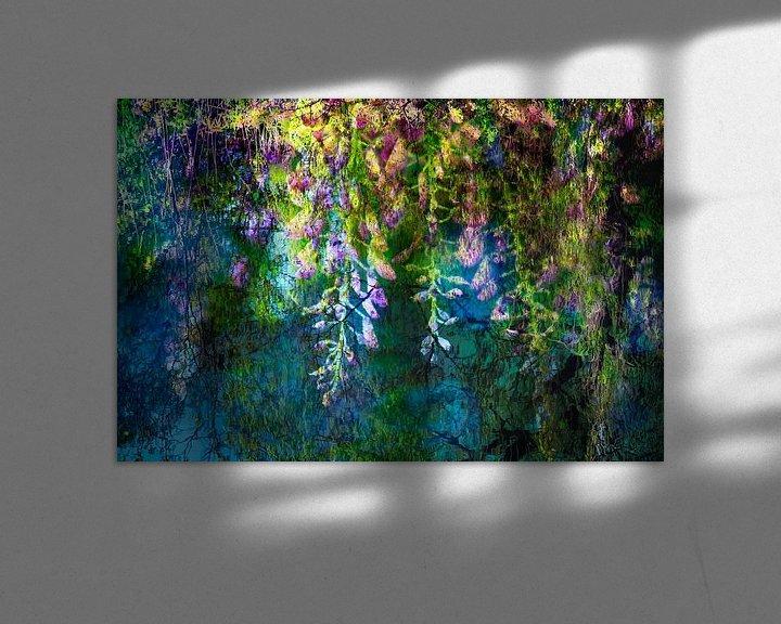 Sfeerimpressie: Blauweregen * geinspireerd op een schilderij van Claude Monet van Paula van den Akker