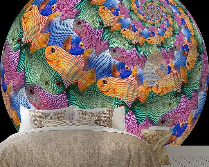 Sfeerimpressie behang: Fish Sphere Surface van Tis Veugen