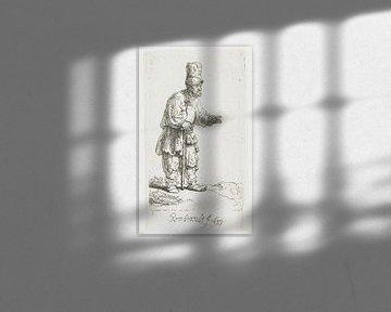 Stehender Landwirt mit hoher Kopfbedeckung, am Stock gelehnt, Rembrandt van Rijn