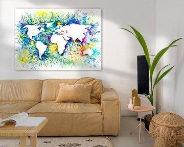 Abstracte Wereldkaart | Aquarel Schilderij van Wereldkaarten.Shop