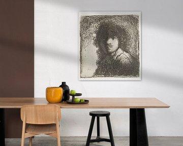 Selbstbildnis, nackter Kopf: Büste, Rembrandt van Rijn