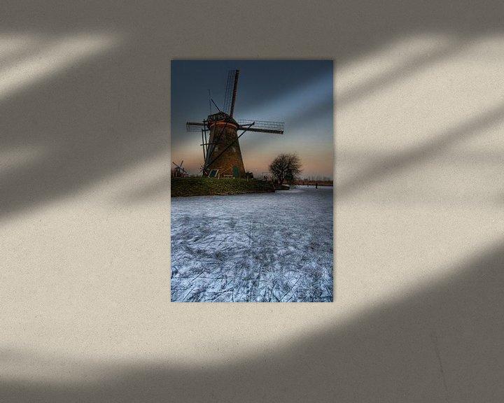 Impression: Winterse molen bij avondschemering sur Tammo Strijker