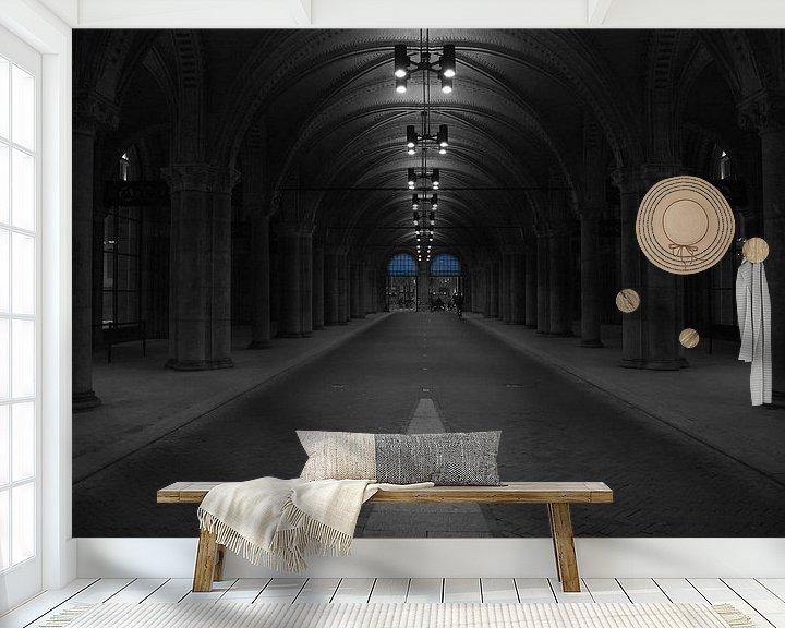 Sfeerimpressie behang: Rijks Museum in de vroege ochtend van Peter Valentijn