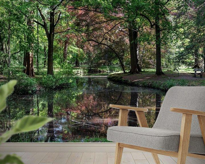 Sfeerimpressie behang: Herfstkleuren in het bos van Ingrid Aanen
